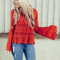 Laced Bell Sleeve Blouse