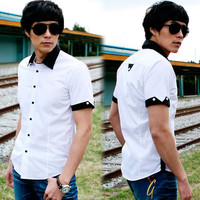 Korea Mens Button-down Short Sleeve Classic Black White Fitted Casual Shirt Tops