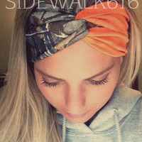 Camo and Blaze Orange Headband Turban Style Headband Hunting Headband