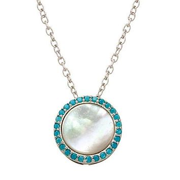 Natural Opal Stud Blue Topaz Halo Necklace