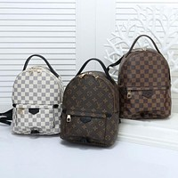 LV classic old flower checkerboard large capacity casual all-match backpack bag