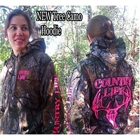 Country Life Outfitters Pink Tree Camouflage Camo Realtree Deer Skull Head Hunt Vintage Hoodie