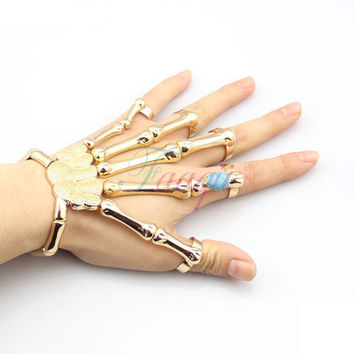 Gold Punk Finger Knuckle Ring Skeleton