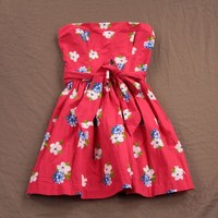 Abercrombie & Fitch Womens Sun Dress Strapless Floral/Solid Belted Moose NWT!