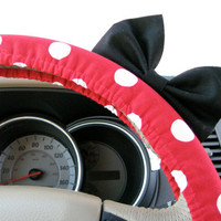 Minnie Mouse Inspired Red Polka Dot Steering Wheel Cover with Matching Black Bow