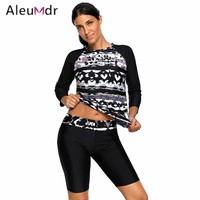 Aleumdr Two Piece Swimsuit For Women Black Monochrome Abstract Print Long Sleeve Wetsuit Woman LC410484 Traje De Bano Mujer