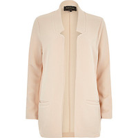 River Island Womens Cream jersey inverse collar blazer jacket