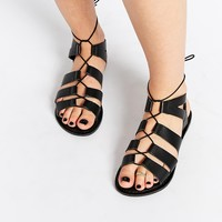 ASOS FOSS Leather Lace Up Sandals