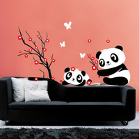 Pandas playing-wall decals -wall sticker wall decal