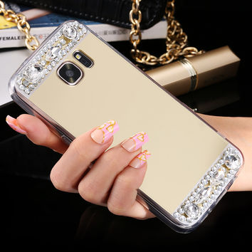 Luxury Mirror Cover Diamond Crystal Case For iPhone 6 6S Plus 5S SE For iPhone 7