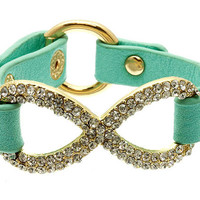 Mint leather pave rhinestones crystal love infinity bracelet - gold plated thick chunky simple elegant fashion inspired spring 2013