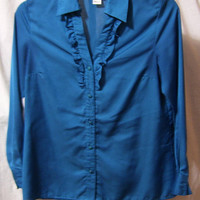 Trsl Blue Blouse, Classic Button Front, Long Sleeve, Ruffle Front, Kim Rogers, Size M Medium, Professional, Casual, School