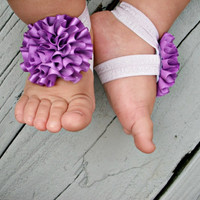 READY TO SHIP..Baby Barefoot Sandals..Purple Puff Flowers..Toddler Sandals..Newborn Sandals