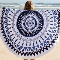 2016 Casual Circle Retro Vintage Tribal Ethnic Relaxing Beach Summer Towel Cape Matt Shawl Cover Up Plaid Sunblock Wall Tapestry Coverlet _ 6284