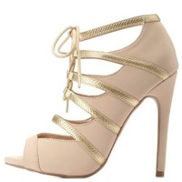 Nude Combo Lace-Up Caged Peep Toe Heels by Charlotte Russe
