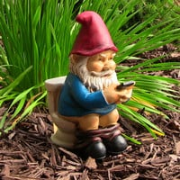 """Cody the Gnome Reading Phone on the Throne, 9.5"""" by Sunnydaze Decor"""