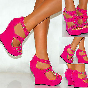 LADIES CORAL PINK BLUE RED FAUX SUEDE STRAPPY SANDALS WEDGES HIGH HEELS SHOES