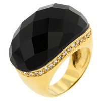 Black Beauty Faceted Onyx Ring, size : 10
