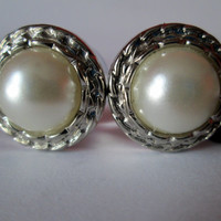 SALE - Silver Rimmed Ivory Pearl Plugs Gages - Available in 5/8 in and 3/4 in
