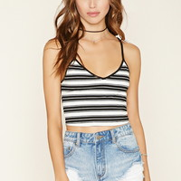 Striped Ribbed Knit Crop Top   Forever 21 - 2000178147