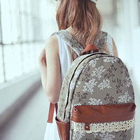 [grls72000018]Country Style Sweet Floral Print Crochet Lae Backpack