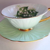 Shelley Lily of the Valley Teacup and Saucer / Oleander Shape / Shelley China / Tea Cup / Tea Set / Tea Cups / Teacups / Cups and Saucers