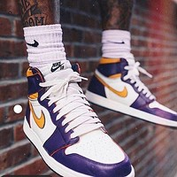 "Nike x Air Jordan 1 High OG ""Court Purple"" Fashionable men's and women's high-top casual sneakers Shoes"