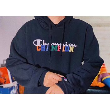 Champion New fashion letter print hooded long sleeve sweater top Black
