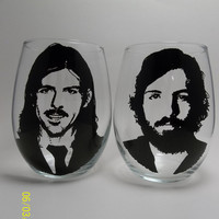 Avett Brothers, Hand painted wine glasses, painted glasses, stemless glasses