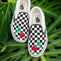 Vans Checkerboard Slip-On Rose Embroidery Sneaker