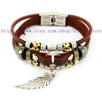 Real Soft Brown Leather Women Leather Jewelry Bangle Cuff Bracelet Men Leather Bracelet, Cuff Bangle R3004