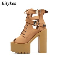 Eilyken 2017 New Arrivals Gladiator Women Pumps Open Toe Thick Heels Platform Female Single Shoes Cut-outs Buckle Women Shoes