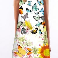 Butterfly Print Round Neck Dress 10021