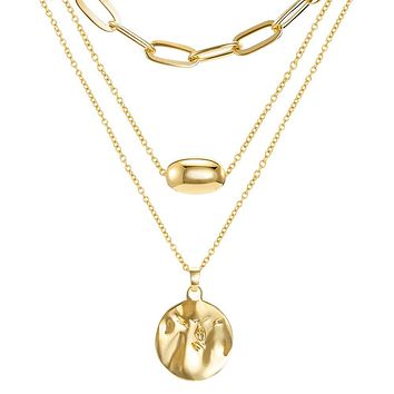 CLASSYZINT Gold Coin Necklace for Women Chain Layered Pendant Necklaces Trendy Necklace Jewelry XL00349A-SKL