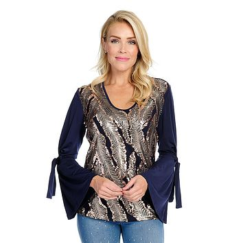 Allure by Julia K. Stretch Knit Long Bell Sleeve Sequin Embellished Tie Detailed Top