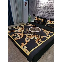 VERSACE Luxury Designer Home Decor Blanket Quilt coverlet 2 Pillows Shams 4 PC Bedding Set