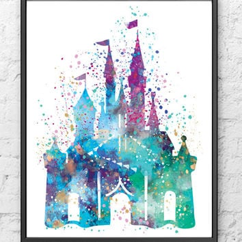 Disney Castle Watercolor Print, Castle Art, Colorful Poster, Kids Room Decor, Nursery Decor, Girls Room Decor, Wall Art, Home Decor - 7