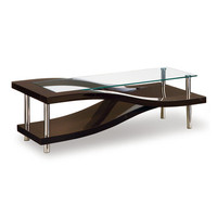 Global Furniture USA 759WC Wave Clear Glass Coffee Table in Wenge