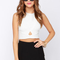 The Cush Life Quilted Ivory Crop Top