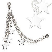 316L Surgical Steel Chained Stars Cartilage Earring