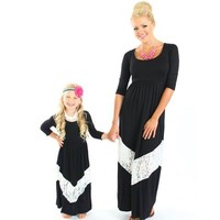 Mommy 3/4 Sleeve Black and White Lace Maxi Dress - Ryleigh Rue Clothing by MVB