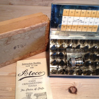 Vintage Ateco Cake Ornamenting Decorating Tool Set # 780 Nickel Silver Tubes Hinged Metal Case and Box