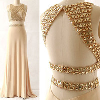 long prom dress,two pieces prom dress,backless prom dress,prom dress 2016,evening dress,,PD350
