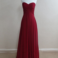 Lovely Sweetheart Burdundy Prom Dresses