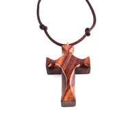 Men Cross Necklaces, Wooden Cross Necklace, Wood Cross Pendant, Wood Pendant, Wood Jewelry, Hand Carved Cross, Christian Jewelry, Wood Cross
