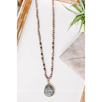 From This Moment Mauve Beaded Necklace with Stone Pendant