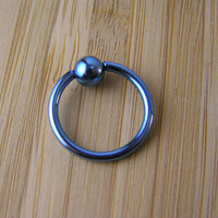 Light Blue Titanium IP Plated Captive Bead Ring 14g 16g gauge Earring Septum Piercing Cartilage Hoop Conch Helix Tragus Intimate Jewelry