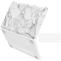"""iBenzer Basic Soft-Touch Series Plastic Hard Case & Keyboard Cover for Apple Old Macbook Pro 13-inch 13"""" with CD-ROM A1278 (White Marble)"""