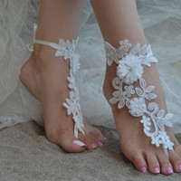 Free ship ivory gift will you be my bridesmaid gift ideas of honor mother of the bride bridesmaid bridesmaid barefoot sandals lace sandals