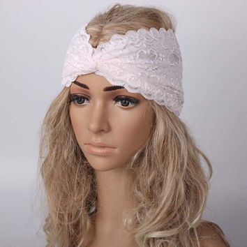 Feminine Lacey White Turban Wrap Hair Band for Yoga, Workouts, or just Pretty!